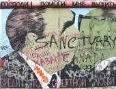 Fotografía tomada del Muro de Berlín y utilizada para la portada del libro en alemán