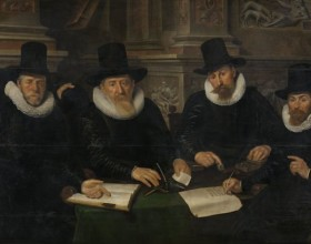 Four Regents and the 'House Father' of the Amsterdam Lepers' Asylum, Werner van den Valckert, 1624