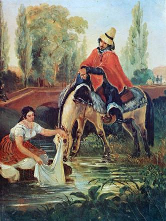 El huaso la lavandera de Mauricio Rugendas. 1835