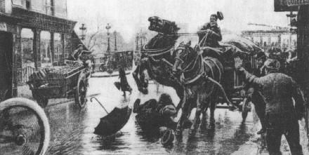 El accidente de Pierre Curie. Grabado de la época