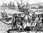 Colón llegando a Guanahani