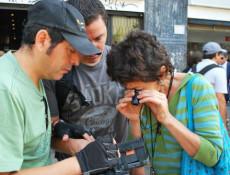 Teresa Larraín filmando.