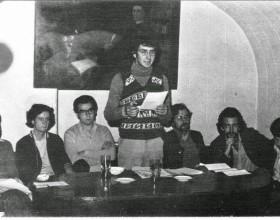 Lectura de la UEJ en la SECH Barbara Delano, Armando Rubio, Jorge Ragal, Erick Pohlhammer, Ricardo Wilson, Antonio Gil, Teodoro Cassua.1976.