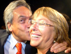 Chile''s presidential candidate Sebastian Pinera of the right-wing opposition alliance kisses to presidential candidate Michelle Bachelet of the pro-government coalition as the two reunited in a New Year''s celebration in Valparaiso, Chile, Jan. 1, 2006, two weeks before the Jan. 15 presidential runoff election. (AP Photo/Las Ultimas Noticias, Traudy Guital) CHILE ELECTION